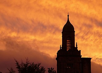 Queensbury, West Yorkshire - Image: Queensbury Sunset with tower detail (29th September 2010)