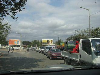 Tete Province - Queue to cross the Tete Suspension Bridge, Mozambique