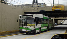 Green-and-white articulated bus leaving an underpass