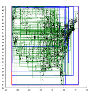 R-tree - Image: R tree built with Guttman's linear split