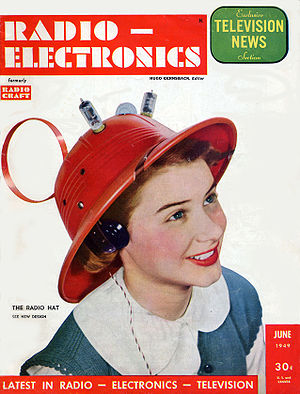 "Radio hat - The June 1949 issue of Radio-Electronics showing the ""Man-from-Mars, Radio Hat,"" modeled by a 15-year-old Hope Lange"
