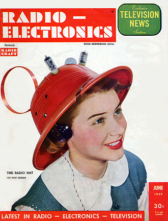 Radio-Electronics - Hope Lange models a radio hat on the cover of Radio-Electronics (June 1949)