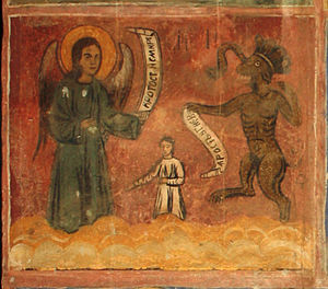 Rage (emotion) - Angel with Temperance and Humility virtues versus Devil with Rage and Anger sins. A fresco from the 1717 Saint Nicolas church in Cukovets, Pernik Province, Bulgaria
