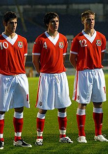 Aaron Ramsey Middle Lines Up For Wales Under 21 Alongside Christian Ribeiro Right And Ched Evans Left