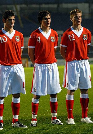 Ched Evans - Evans (furthest left) lining up for Wales U21 alongside Aaron Ramsey and Christian Ribeiro