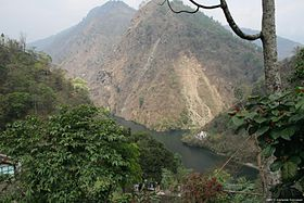 Rangit and Rathong chu Rivers meet upstream of Dam.jpg