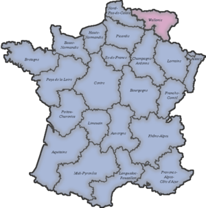 Rattachism - Map of regions of France (before reform of 2014) plus Wallonia