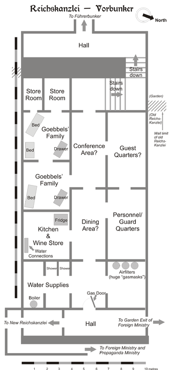 Vorbunker - Schematic diagram of the Vorbunker as it was in April 1945