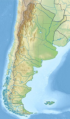 Map showing the location of Perito Moreno National Park