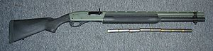 Semi-automatic firearm - Remington 1100 Tactical Shotgun in 12 gauge – an example of a semi-automatic shotgun