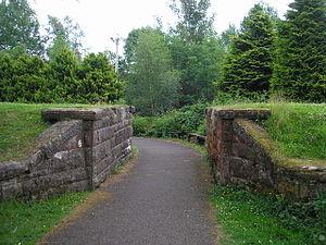 Moffat railway station - Railway bridge abutments near Moffat