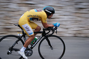 Richie Porte - Porte, in the leader's jersey, on his way to winning stage seven's individual time trial of the 2013 Paris–Nice.