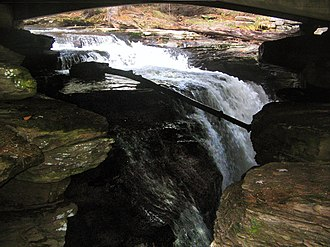 Waterfalls in Ricketts Glen State Park - Image: Ricketts Glen State Park Kitchen Creek Falls 3 edited