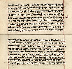 An early 19th century manuscript in the Devanagari script of the Rigveda, originally transmitted orally with fidelity[78]