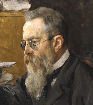 Nikolai Rimsky-Korsakov - Portrait of Nikolai Rimsky-Korsakov in 1898 by Valentin Serov (detail)