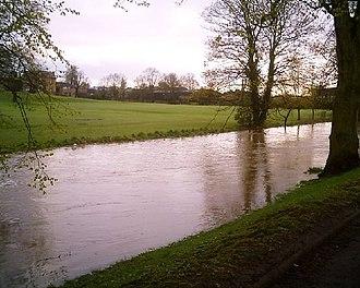 River Skerne - River Skerne in flood, April 2005