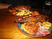 Two Peruvian dishes of cuy meat