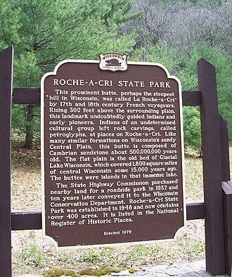 Roche-a-Cri State Park - Image: Roche A Cri RHP Sign