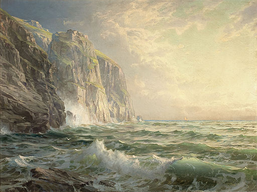 Rocky Cliff with Stormy Sea Cornwall-William Trost Richards-1902