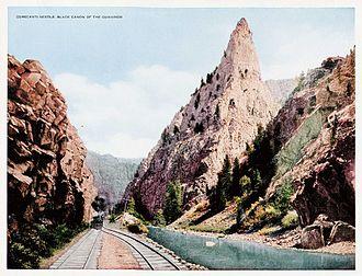 Morrow Point Reservoir - Curecanti Needle, Linen Postcard, 1910's