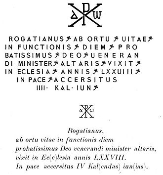 Civitas Popthensis - Epitaph of a cleric named Rogatianus, discovered in the necropolis of the city