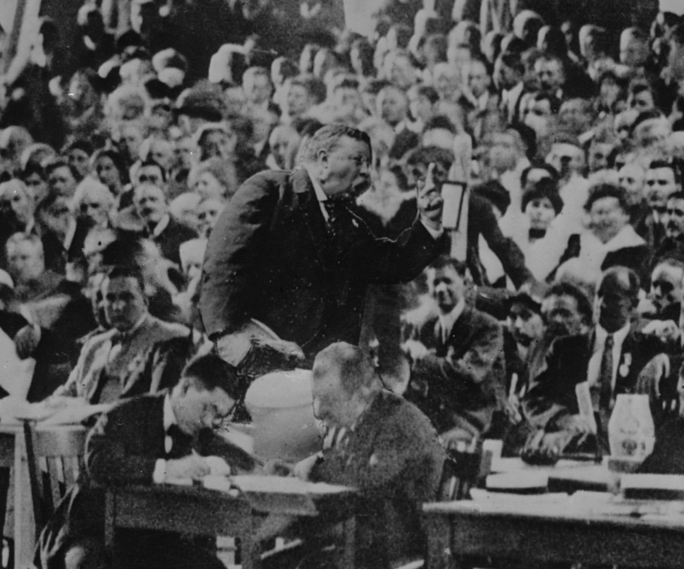 Roosevelt speaking in convention hall, Chicago (cropped1)