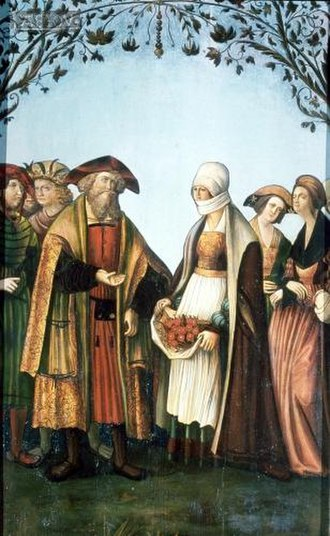 Louis IV, Landgrave of Thuringia - Louis and Elizabeth: Miracle of the roses, altarpiece, Mariahof parish church, 16th century