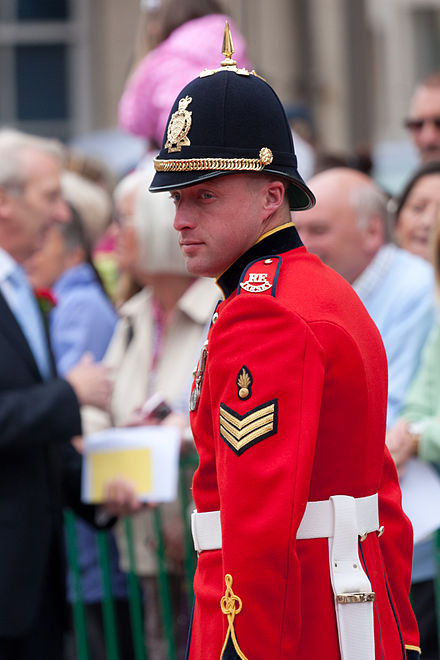 A non-commissioned officer of the Royal Militia of the Island of Jersey. The unit is one of two regiments in the Territorial Army that maintain their militia designation. Royal Visit 2012 0010.jpg