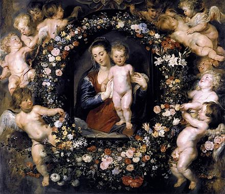 Madonna on Floral Wreath by Peter Paul Rubens with Jan Brueghel the Elder, c. 1619 Rubens Madonna on Floral Wreath.jpg
