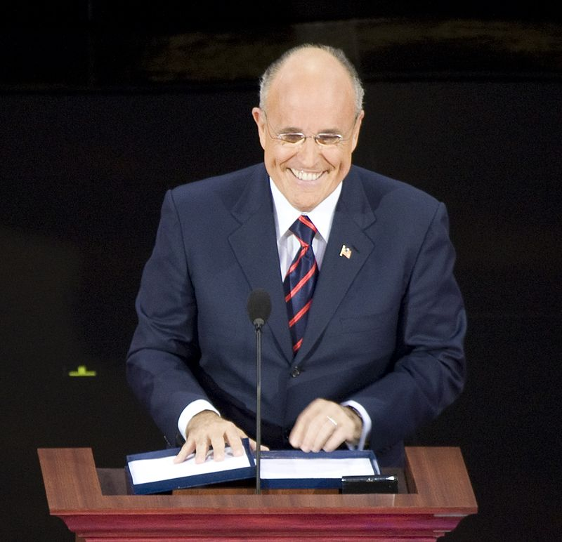 Rudy Giuliani, former Republican presidential candidate and Mayor of New York, at the podium in the Xcel Center, St. Paul, Minnesota LCCN2010719270 (cropped).jpg