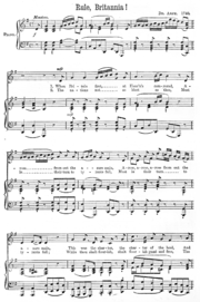First Page Of An 1890s Edition The Sheet Music For Rule Britannia