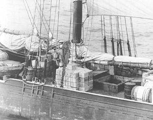 Rum-running - Rum runner schooner Kirk and Sweeney with contraband stacked on deck