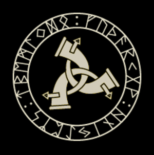 Stephen Flowers - Logo of the Rune-Gild with Elder Futhark and Triskelion