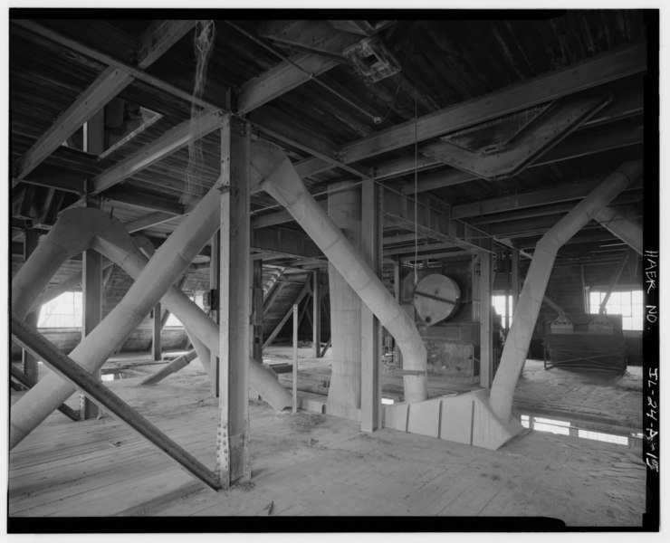 "File:SAND-SORTING BUILDING, SECOND FLOOR, VIEW OF DUST COLLECTION VENTS, LOOKING SOUTHWEST - Mill ""C"" Complex, Sand-Sorting Building, South of Dee Bennet Road, near Illinois HAER ILL, 50-OTWA. V, 1A-15.tif"