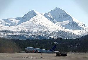 Bardufoss Airport - Scandinavian Airlines Boeing 737 taking off from Bardufoss Airport