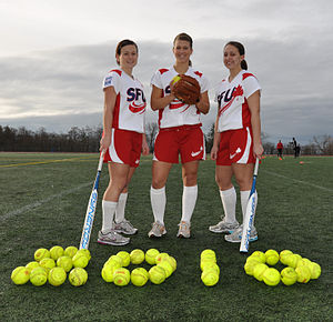 Simon Fraser Clan - SFU Clan women's softball players, left to right: Carly Moir, Trisha Bouchard and Stefani Durrant