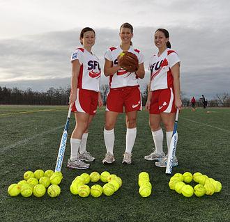 Simon Fraser Clan - SFU Clan women's softball players, left to right: Carly Moir, Trisha Bouchard and Stefani Durrant