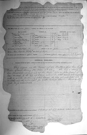 John Bowes (steamship) - Image of the Lloyd's survey certificate for the steam collier SS John Bowes, signed and dated July 1852 by Samuel Pretious, resident surveyor, Newcastle upon Tyne (back).