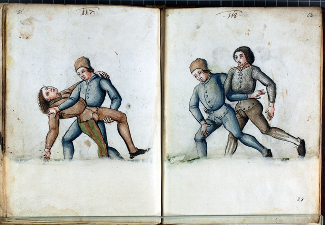 illustration from Solothurner Fechtbuch (early 16th century AD) - German Ringen (Grappling)