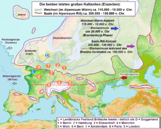 Würm glaciation - The Würm glaciation (in the north:the Weichselian) in comparison with the Riss (in the north:the Saale). The glacial advances were interrupted by warmer periods during which ancient European man (the Neanderthals, as successors of homo heidelbergensis) spread out from the mountain zones and over the permafrost boundary to the north and northeast. From about 40,000 BC modern Cro-Magnon man settled these regions.