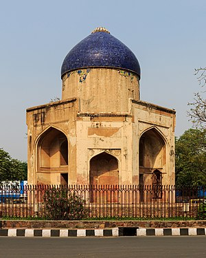 Nizamuddin Dargah - Sabz Burj (aka Blue Gumbad) on the Mathura road traffic circle near Nizamuddin Dargah, Delhi