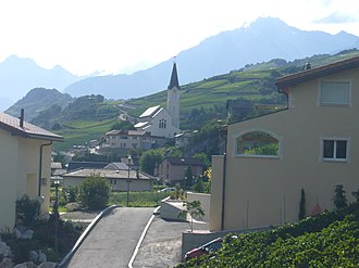 Saint-Léonard, Switzerland - Church and Saint-Léonard village