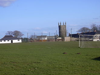 Constantine, Cornwall - View of the Church and the Recreation Ground, showing the Social Club on the left of the picture