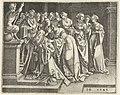 Salomo (Salomon) knielt voor altaar met afgod, een satyr Salomo's afgoderij, RP-P-1948-537.jpg