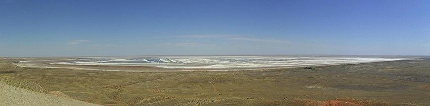Salt lake Baskunchak in Russia