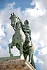 Equestrian bronze statue of King Frederik V created in Neoclassical style by Jacques Saly in 1768