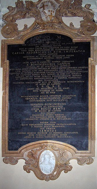 Enzo of Sardinia - Posthumous epitaph from 1731 by Giuseppe Maria Mazza in the Basilica of San Domenico, Bologna