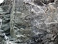 Sandorite intrusive contact with country rock (Sandor Dike, Neoarchean, 2.703 Ga; Route 17 roadcut northeast of Wasp Lake & north of Wawa, Ontario, Canada) 10 (48342221591).jpg
