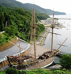 Replica of the galleon Date Maru, or San Juan Bautista, in Ishinomaki, Japan.