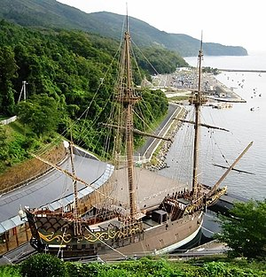 Replica of the Japanese-built 1613 galleon San Juan Bautista, in Ishinomaki, Japan